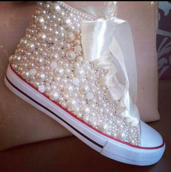 Ivory White Converse Peek a Boo Red Heart Low Top Lady Mens Custom w/ Swarovski Crystal Rhinestone Chuck Taylor Custom All Star Sneaker Shoe $