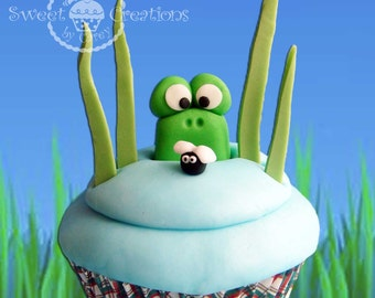 3D fondant 3D frog with fly cupcake toppers