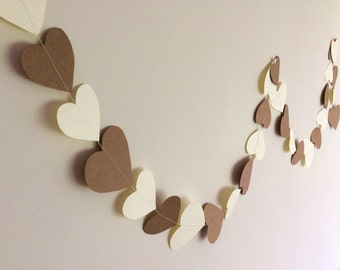 Heart Garland, Wedding Decoration, Paper Bunting, Engagement, Love Hearts, Party Decor
