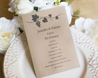 Printable Wedding Program Template, DIY Wedding Programs, Kraft Program, INSTANT DOWNLOAD, Esitable Text - Rustic Grapevine