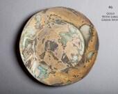 "Ceramic decorative plate,  Glazed stoneware plate, 6"" diameter dishes,  Matte gold glazed,  Opal sparkle lusterware, Dinnerware style piece"