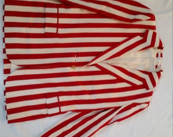 VINTAGE PERRY ELLIS Red and Cream Striped Single-Button Blazer