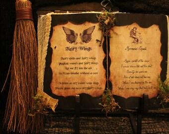"Halloween Spell Book, ""Fairy Wings & Mermaid Spell"", Halloween Decoration, Halloween Prop, Halloween Display, Haunted House, Handmade"
