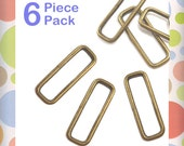 """2 Inch Rectangular Wire Loops / Rings, Antique Brass / Bronze Finish, 6 Pieces, Purse Handbag Bag Making Hardware, 2"""" Rectangle, RNG-AA211"""