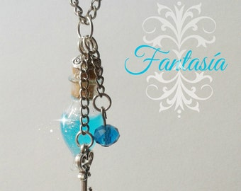 Glass Bottle Necklace. glass Bottle Pendant. Cute necklace. vial pendant. Hanging minibotella. Tiny crystal drop.