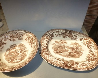 Clarice Cliff Royal Staffordshire brown tonquin platter and bowl