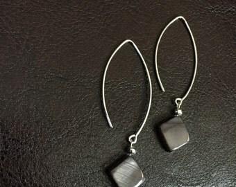 Sterling Silver Grey Shell Earrings