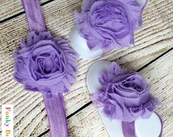 Baby Barefoot Sandals & Headband Gift Set-Lavender-Soft Baby Flower Shoes - Newborn Shoes - Baby Shower Gift - Photo Props