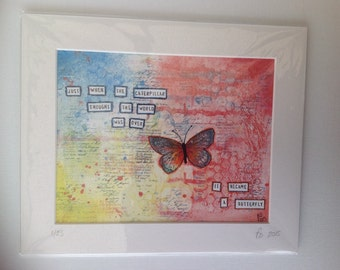 Just when the butterfly..... Print of original mixed media art