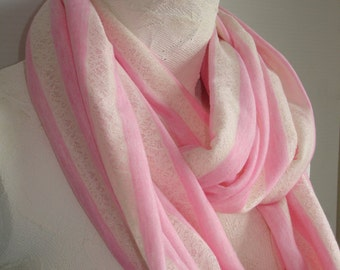 Pink Striped Infinity Scarf - Pink and Cream Scarf - Lacy infinity Scarf