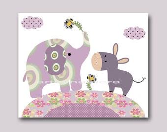 Purple Elephant Wall Art Instant Download Kids Art Nursery Digital Print Children Art Baby Girl Nursery Art Baby Girl Room Decor 8x10 11X14