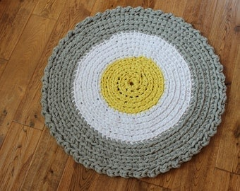 "Gray and Yellow 27.5"" Crocheted Round Rag Rug, Cottage Chic Decor, Shabby Chic, Nursery Rug, Crochet Rag Rug, Rag Rug, Gray Rag Rug"