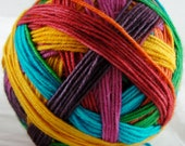 Peace, Love and Lobster - Hand dyed Self-Striping Sock Yarn