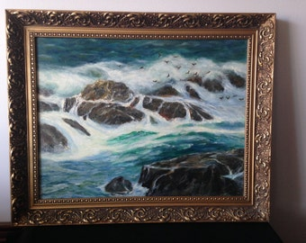 Vintage Oil Painting On Board of Waves crashing on the rocks and seagulls flying above.