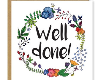 Well done card | Congratulations card | Floral greetings card