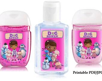 Doc McStuffin hand sanitizer label, birthday party favors, digital printable pdf