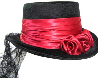 Black and Red Victorian Ladies Short Top Riding Hat with Tail, Includes Black Lace and Satin, Equestrian, Steampunk, Gothic, Edwardian