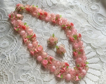 1950's cherry blossom double strand necklace & earings set