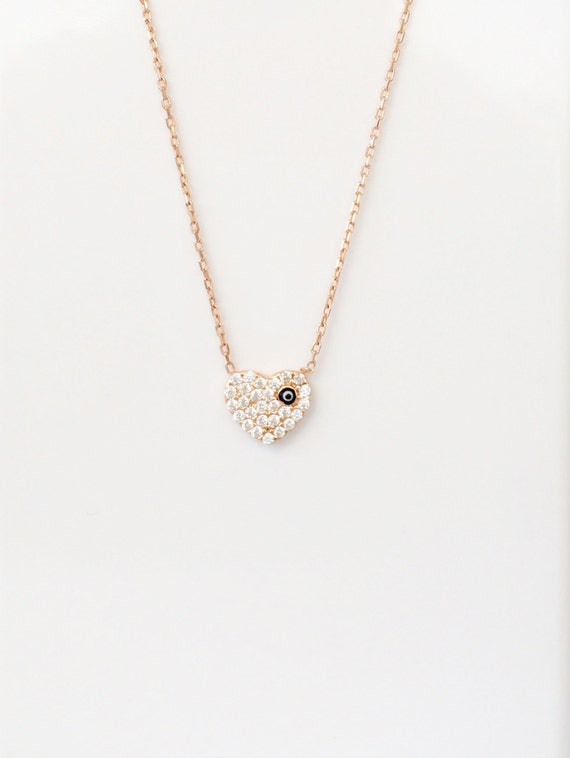 heart necklace real rose gold plated sterling silver and cubic zirconia, SALE SPECIAL
