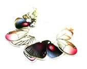 PANIKA purple flying wings statement necklace / laser cut perspex necklace