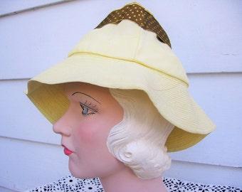 SALE! 1940's Yellow Mini-Fedora Hat / The Wilde-Lyn