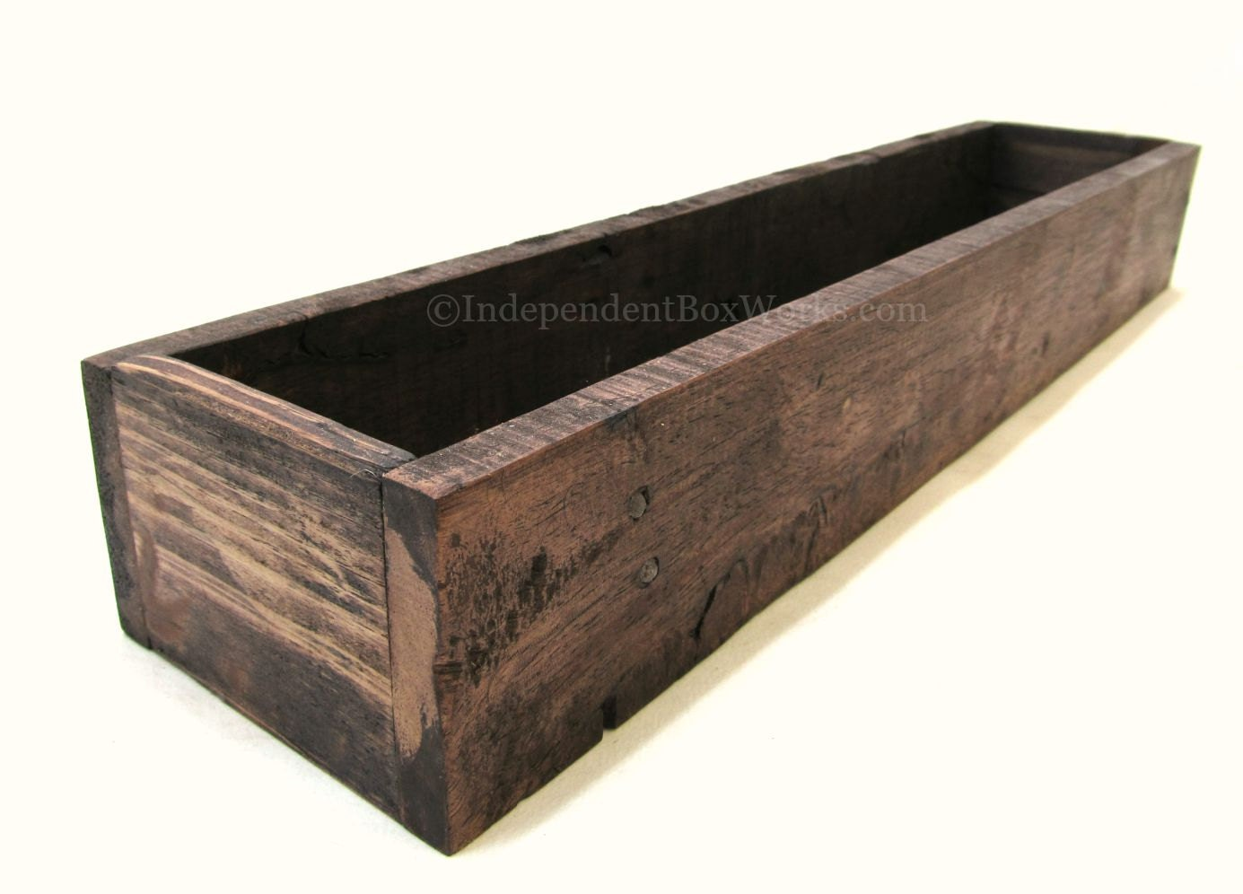 Salvaged pallet wood centerpiece box red mahogany stained