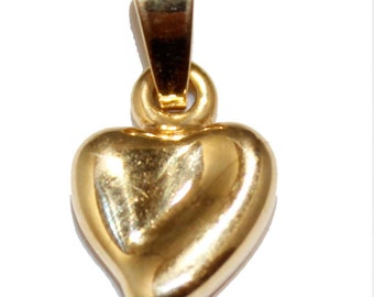 Heart Charm Pendant with 18 inch Figaro Chain 18k Gold Plated Pendant - Heart Necklace