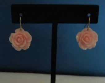 Rose Earrings-Dangle Earrings-Fishook-Blue-Pink