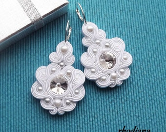Rivoli White Soutache Earrings