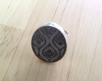 Sterling silver black screen printed polymer clay and resin ring