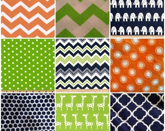 Custom Crib Bedding Set, Made to Order, Lime green, navy & Orange, chevron, modern, crib skirt, sheet, baby blanket