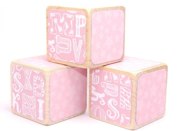 Alphabet Blocks Baby Blocks Pink Nursery Baby Girl