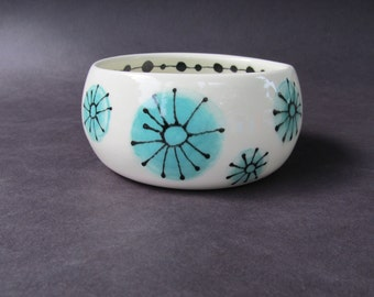 Porcelain Bowl with Turquoise Flowers