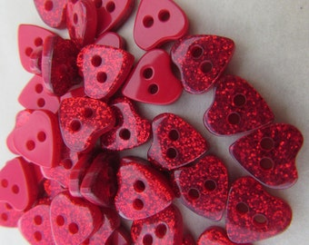 Pack of 10 Red Glitter Heart Buttons