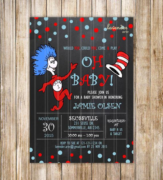 Dr. Seuss Chalkboard Baby Shower Invitation