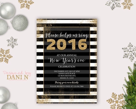 new years eve party invite  holiday by designedbydanin on etsy, Party invitations