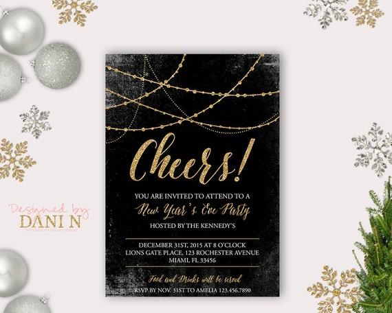 Items similar to New Year Party Invitation, 2016 Holiday ...