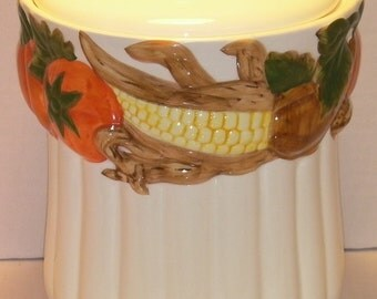 White Cookie Jar with Pumpkins and Corn around top