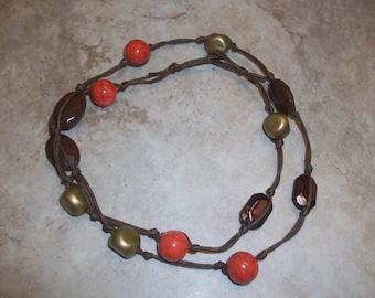 Burnt Orange and Brown Knotted Bracelet