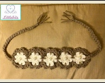 Newborn Baby-Adult Crocheted Sandy Brown n Cream Flower Headband with Glass Pearl Beads