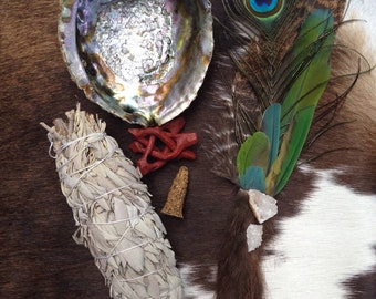 Ceremonial Feather Smudge Fan Large Kit with Macaw Feathers, Beaver Fur, Geodes, & Crystal Quartz