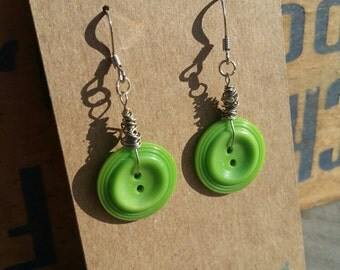 Upcycled Green Button Earrings