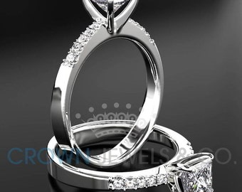 Ladies Engagement Ring 1.65 ct Princess Cut Diamond D SI Solitaire With Accents Wedding Ring In White Gold Setting