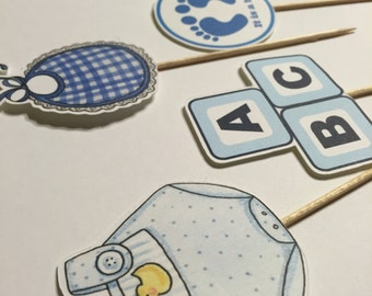 30 pcs  cupcake toppers (picks) for boy baby shower
