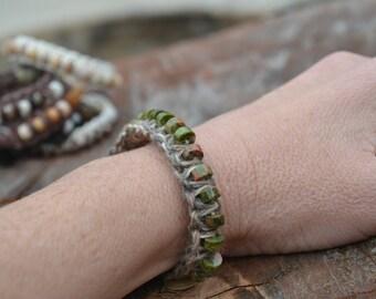 Green-brown varigated Hemp cording handwoven with green varigated Jasper beads