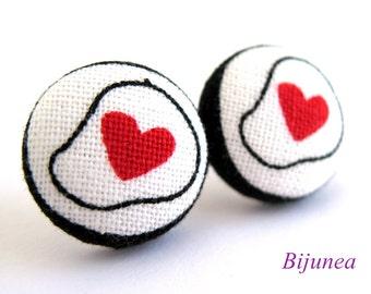 Heart stud earrings - Heart post earrings - Red Heart studs - Heart posts - Heart earrings sf998