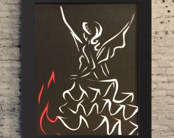 """8.5x11"""" Girl On Fire Art, Catching Fire Art, Katniss Gift, Handcut Art, Movie Fan Art"""