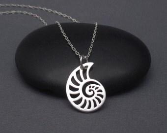 Nautilus Shell Necklace Sterling Silver 925 Nautilus Shell Pendant Charm, Ocean Sea Shell Charm