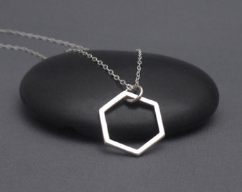 Honeycomb Necklace Sterling Silver, Hexagon Necklace, Geometric Necklace, Modern Necklace, Minimalist Necklace