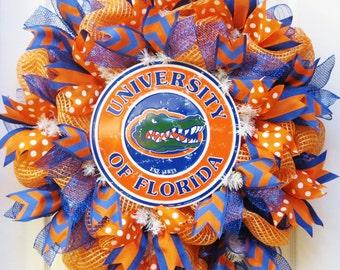 College Wreath, deco mesh wreath w/ University of Florida Sign, mesh wreath with Florida Gators Sign, football wreath, Orange Royal Wreath